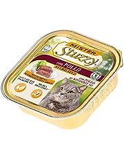 Stuzzy Mister, Comida húmeda para Gatos Adultos esterilizados, Sabor Pollo, línea paté y Carne en trozos - Total 3,2 kg (32 tarrinas x 100 gr)