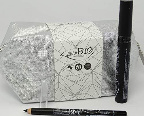 PUROBIO - Kit de maquillaje A - Bolso clutch plateado + Glorious Mascara + Lápiz de ojos negra 01 - Idea de regalo perfecta - Cosméticos certificados ccpb, Vegan y Nickel Probado