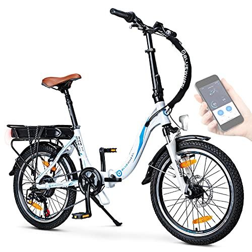 BLUEWHEEL e-Bike 20' Plegable I Marca Alemana de Calidad I Cambios Shimano 7 velocidades I Bicicleta eléctrica Conforme UE con App + Motor de 250 W + Batería Extraíble   25 km/h hasta 150 km   BXB55