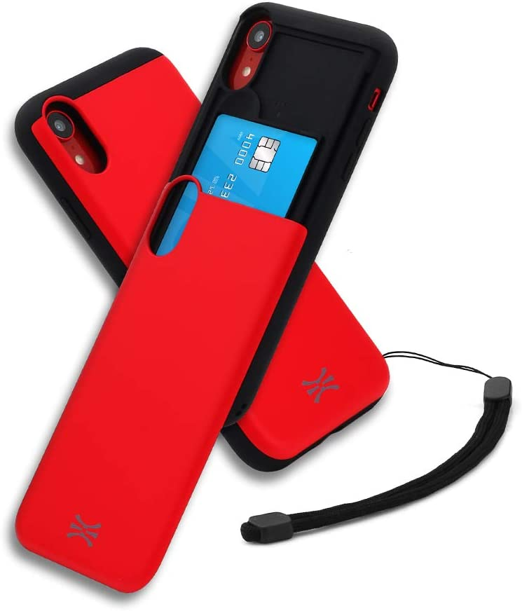TORU CX Slide Compatible with iPhone Xr Card Case - Protective TPU Bumper & Hard Cover Dual Layer Slim Hidden Card Holder Slot Wallet with Wrist Strap - Red