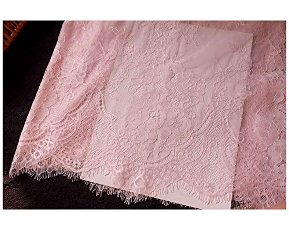 Chantilly Eyelash Edge Lace Fabric Floral Bridal/Wedding Dress Flower African Lace Table Cloth DIY Crafts Trim Applique Ribbon Curtains ALE16 (Pink)