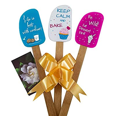 3 Piece Fun Silicone Spatula Gift Set with lovely bow and photo gift card. Easy clean, durable, high temperature and stain resistant. Bamboo handles. Great for gifts, baking, cooking, sauteing. from Perfect and Simple Solutions