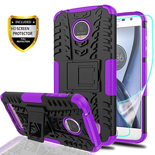 YmhxcY Moto Z Play Droid Phone Case with HD Screen Protector,Military Armor Drop Tested [Heavy Duty] Hybrid Case with Kickstand for Motorola Moto Z Play 2016-LT Purple