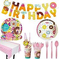 Amycute 142個ドーナツ使い捨て食器セット、ドーナツパーティー用品、パーティープレート、ナプキン、ストロー、カトラリーセット、ベビーシャワーの誕生日パーティーは装飾用品を支持します