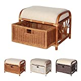 Krit Handmade Rattan Wicker Ottoman Footstool Pouf Stool w/Basket w/Cushion Color Colonial (Light Brown)