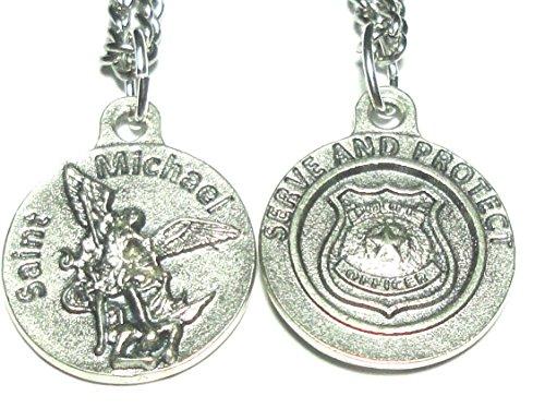 Kruis mijn hart 18mm Saint Michael POLICE OFFICER serveren & beschermen medaille hanger bedel, ketting & doos