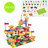 Nologo KLSK Marble Rennblock, Größe, kompatibel mit Doppel-Puzzle-Blöcke, Plastiktrichter Dias, DIY Montageblöcke, Spielzeug (Farbe : 296PCS)