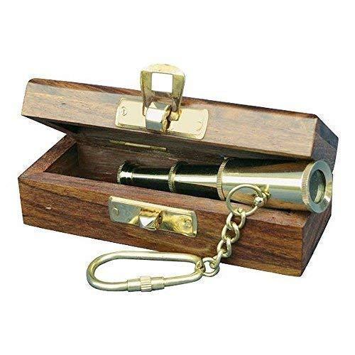 linoows Teleskop Schlüsselanhänger, Mini Fernrohr, Messing in der Holzbox