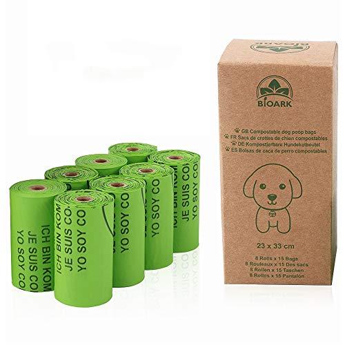 Jroyseter - Bolsas de basura para perros y caca de perro a prueba de fugas, gruesas y compostables, hechas de almidón de maíz para mascotas
