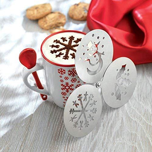 Modello di Natale caffè Stencil Duster - fiocco di neve, vischio, pupazzo di neve, Cappuccino