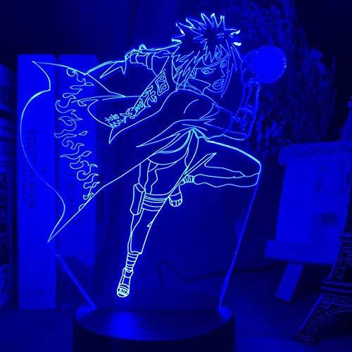 Luz de noche 3D LED Ilusión Lámpara de Navidad Manga japonesa Naruto para niños Decoración de dormitorio de cumpleaños 7 colores y control remoto