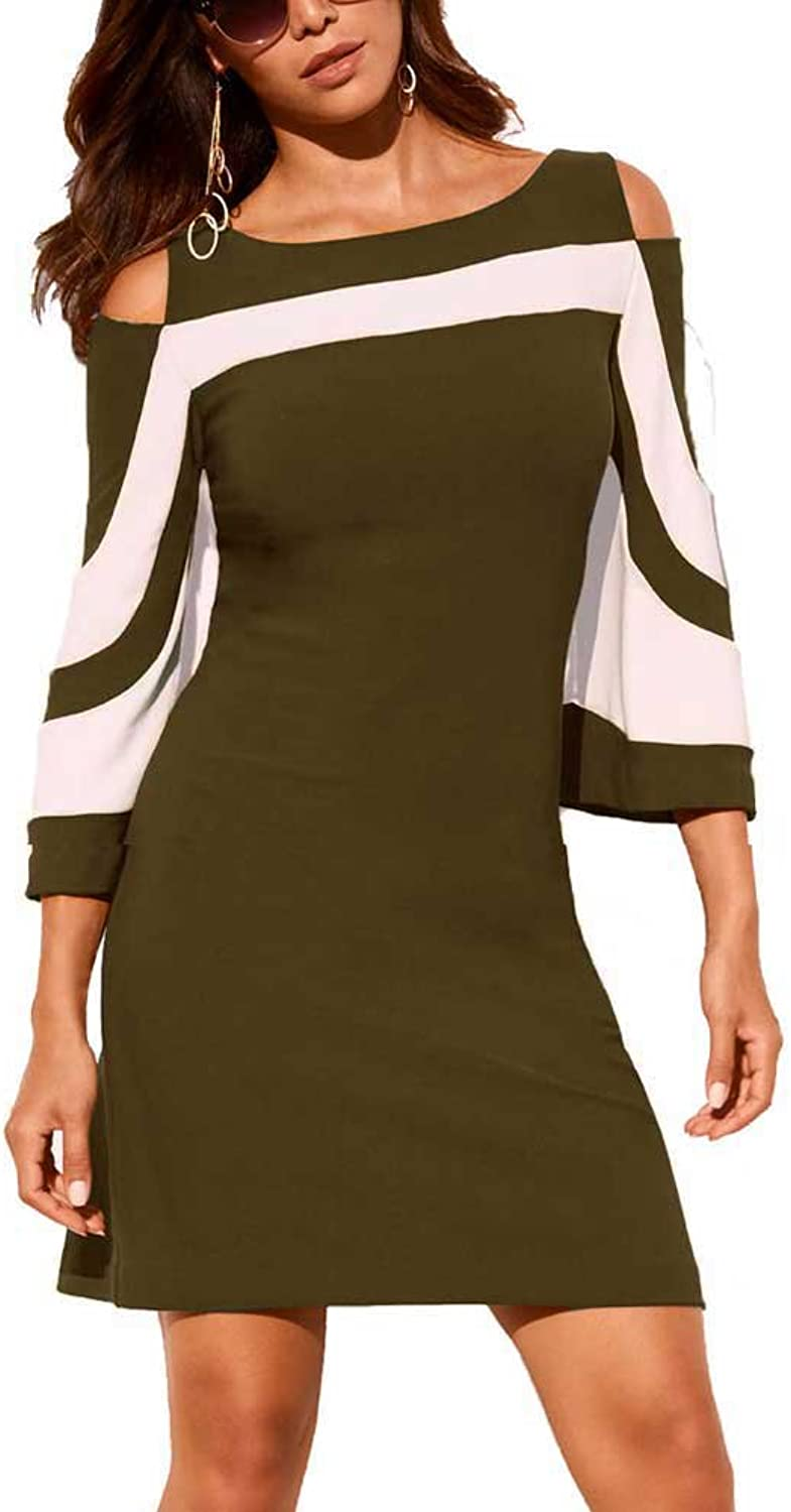 LASOR Women's Cold Shoulder Half Sleeve colorblock Bodycon Casual Mini ALine Dress SXXXL