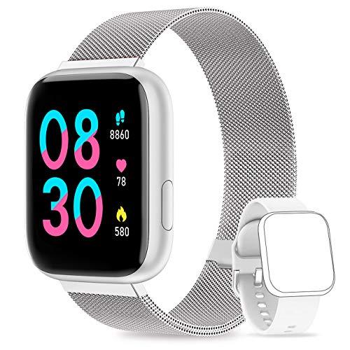 NAIXUES Smartwatch Orologio Fitness Sportivo Donna Uomo Impermeabile Smart Watch Cardiofrequenzimetro Contapassi da Polso Monitor Pressione Sanguigna Activity Tracker per Android iOS (Argento)