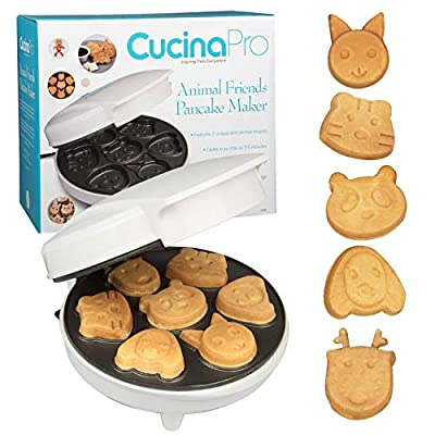 Animal Mini Waffle Maker- Makes 7 Fun, Different Shaped Pancakes - Electric Non-stick Waffler is a Great Christmas Gift