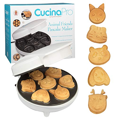 Animal Mini Waffle Maker- Makes 7 Fun, Different Shaped Pancakes - Electric Non-stick Waffler