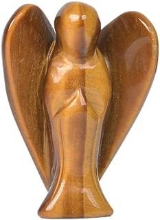 Carved Golden Tiger Eye Gemstone Peace Angel Pocket Guardian Angel Healing Statue 2 inch