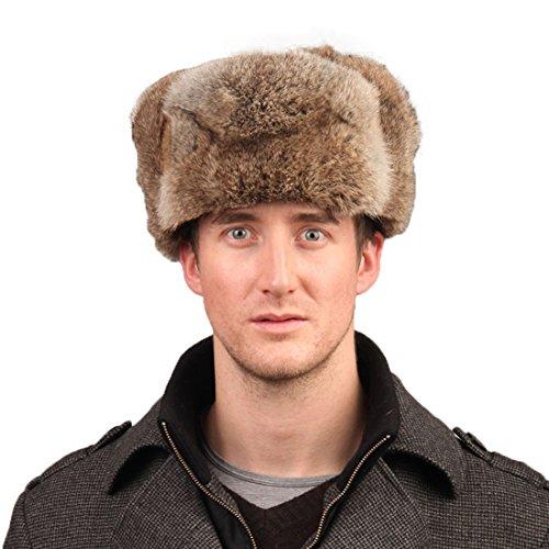 URSFUR Men's Rabbit Full Fur Russian Ushanka Trooper Hats Multicolor (One Size Fits All, Brown)