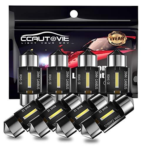 CCAUTOVIE Bombilla LED Festoon Canbus sin errores C5W LED Festoon de 31 mm para interior de coche, domo, mapa, puerta de cortesía, luces de matrícula (31mm 4pcs)