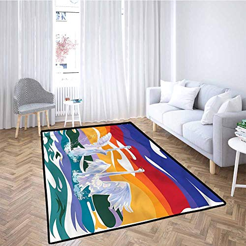 Best Prices! Swan Baby Crawling Mat Kids Playmat Happy Swan Couple Love Children Play Rugs 5x8 Feet