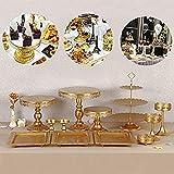 SHIOUCY 12 Piezas Soporte de la Torta, Bandejas para Tartas, Soporte de Torta Decoración de Pasteles Expositor para Presentación de Tartas, Pasteles y Frutas, Color Dorado