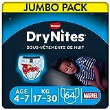 DryNites - Ropa interior desechable de noche para Niños, 4-7 años (17-30 kg), paquete de 4 x 16
