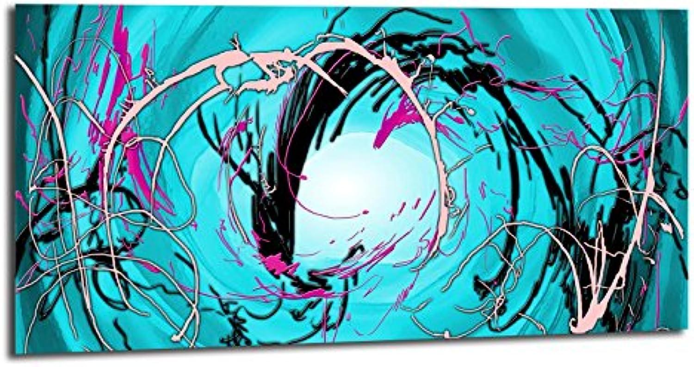 Alu-Dibond Bild ALU100501200 WHIRL ABSTRACT TüRKIS 100 x 50 cm Metallbild, gebürstete Oberflche (Butlerfinish), INKL. Aufhngesystem-Set