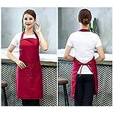 2 Pack Schürze Mit 3 Taschen für Männer Frauen, Verstellbare Kochschürze Küchenschürze Wasserdicht Latzschürze Grillschürze für Küche Garten BBQ Chef Kellner Bäcker – Rot - 2