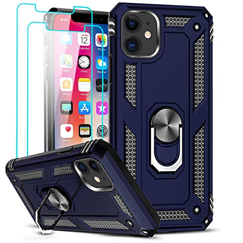 LeYi Compatible for iPhone 11 Case with [2 Pack] Tempered Glass Screen Protector, Military-Grade Armor Phone Cover Case with Ring Magnetic Car Mount Kickstand for iPhone 11 6.1 inch, Blue