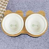 MRDS Ciotola per Animali Scaffale in bambù Ciotole in Ceramica per Gatti Alimentazione e abbeveraggio per Cani Gatti Accessori per Animali Domestici Alimentatore, Lisca di Pesce