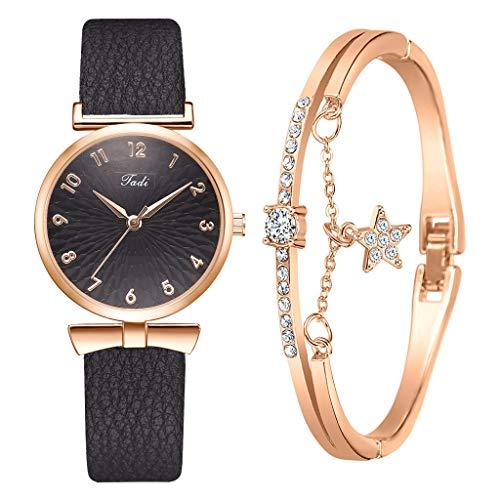 shangwang Reloj casual de las señoras del reloj de la pulsera del diseño de cuero del cuarzo de las señoras reloj de las señoras