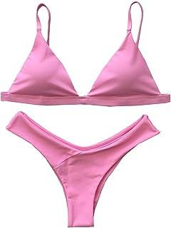 GGTFA Mujer Profundo en V Color Puro Traje de Baño trajes de baño Traje de baño Bikini traje de baño