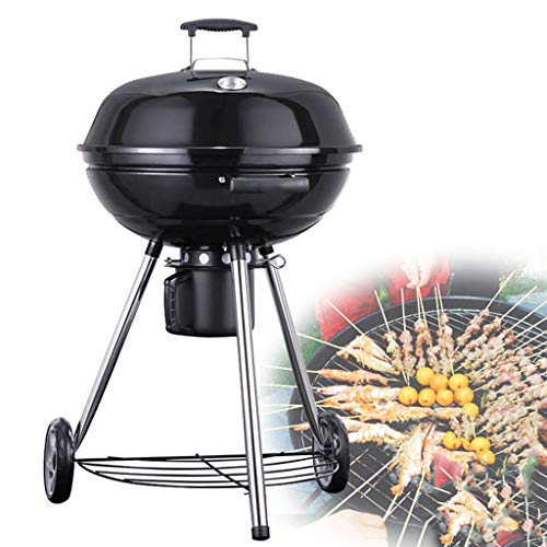 Kitchen Barbecue Turners BBQ Charcoal Grill Courtyard Garden Barbecue Home-Made Charcoal Braised Barbecue Large Capacity Round Container with Roller and Lid Design (Color : Black, Size : 56100cm)