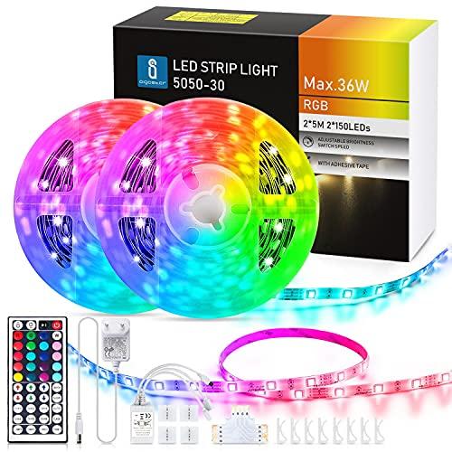 Aigostar Tiras LED 10M, RGBIC Multicolor Tiras de Luces LED con Control...