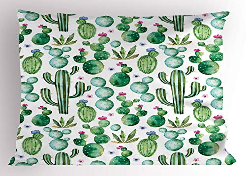Green Decor Pillow Sham by Ambesonne, Mexican Texas Cactus Plants Spikes Cartoon Like Art Print, Decorative Standard Queen Size Printed Pillowcase, 30 X 20 Inches, White Light Pink and Lime Green