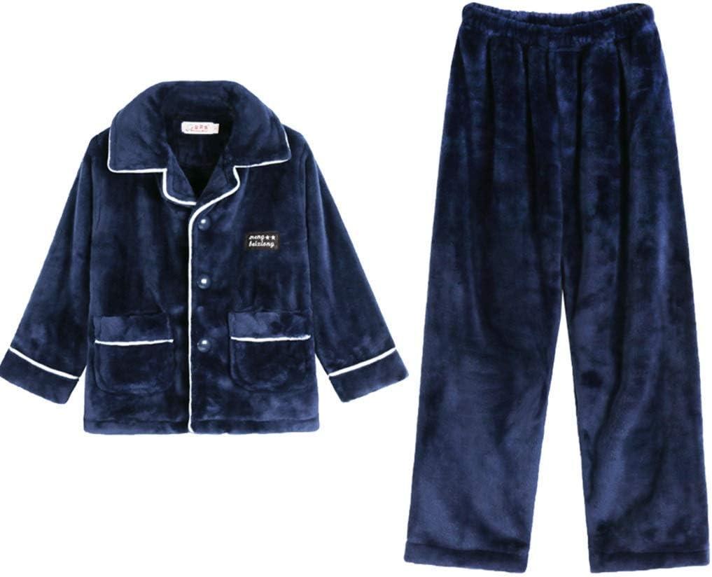 LBBZJM Flannel Pyjamas Women Boys Flannel Pajamas Set Warm Winter Pajamas for Boys Loose Home Clothing Warm Thick Winter Clothes for Boys (Color : Blue, Size : 150cm) (Color : Blue, Size : 165cm)