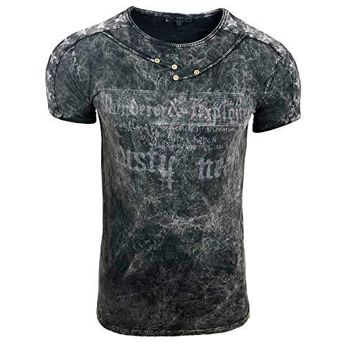 Herren T-Shirt Front Logo Print Stretch Shirt Verwaschen Oil Washed S - XXL 192, Farbe:Schwarz, Größe:2XL