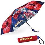 Paraguas Plegable Infantil de Spiderman - BONNYCO | Paraguas Antiviento para Niños con Estructura Reforzada | Paraguas Infantiles para Bolso, Mochila o Viaje | Regalos Originales Disney para Niños