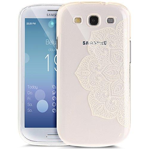 Cover Galaxy S3/S3 Neo,ikasus fiore colorato arte dipinta Cover Custodia Gel Trasparente Morbida Silicone Sottile TPU Protettiva Resistente Ai Graffi Case Cover per Galaxy S3/S3 Neo,fiore bianco Metà