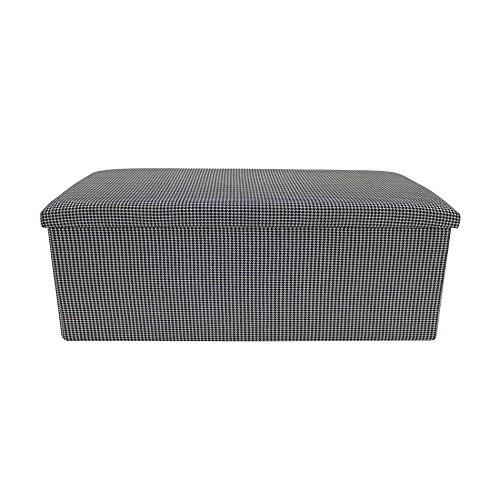 Rebecca Mobili Puf de Almacenamiento, Caja para almacenar Que Ahorra Espacio, Puff baúl, Tela de algodón, Negro Blanco- Medidas: 37 x 110 x 38 cm (AxANxF) - Art. RE6177