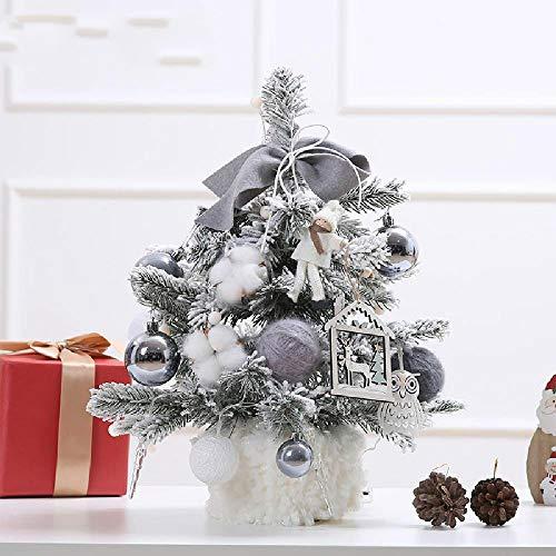 N\P Decoraciones navideñas 30Cm 45Cm 60Cm Juego de Mini árbol de Navidad Multicolor Tablero de Mesa Adornos para árboles de Navidad con Luces Rosa Dorado Beige Gris Rojo Cuadros Árbol de Nieve