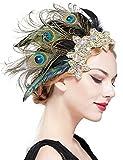 Coucoland Horquillas para el pelo de los años 20, con plumas de pavo real, elegante, estilo años 20, para disfraz, charlestón, Stil 3 - Pfau, Talla única