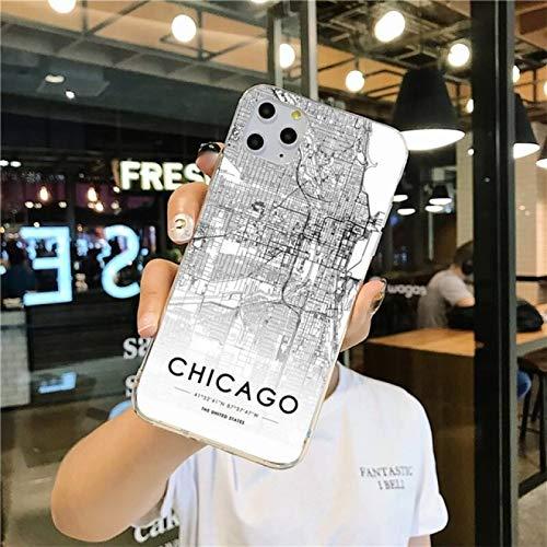 Custodia Per Telefono Mappa Città In Bianco E Nero Per Iphone 1112 Pro Max Xs Max 8 7 6 6S Plus X 5S Se 2020 Xr Soft Tpu Phone Cover, Anti-Scratch Dirt-Resistant Antiurto, Chicago, Per Iphone 5 5S Se
