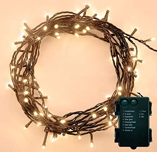 ANSIO Christmas Lights 100 LED Battery Operated Fairy Lights 10m/32ft String Indoor Lights for Xmas/Party/Home/Bedroom/Decoration Warm White - Green Cable