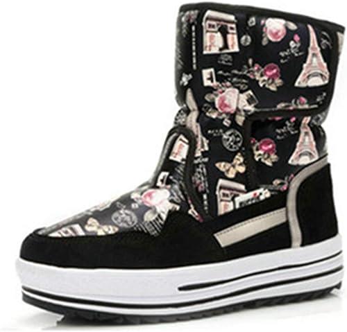 ZHRUI Stiefel damen Stiefel Antideslizantes Resistentes al Agua Moda Femenina Stiefel de Piel cálidas de Invierno (Farbe   schwarz Tower, tamaño   7=41 EU)
