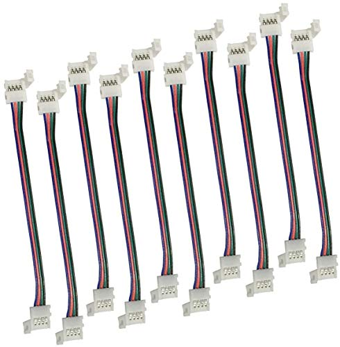 Stripe Verbinder Adapter DIY 4 Pins 10mm Schnellverbinder Nicht wasserfest Schneller Splitter 12V Clip für 5050 RGB 4 Leiter LED Strip Connector Led Streifenverbinder (10 Stück) (4-10mm)