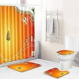 4-teiliger Duschvorhang Gelb-grüner Weihnachtsschneemann Duschvorhang Set Badezimmer Matte rutschfeste, Polyester Durable Wasserdicht Duschvorhang mit 12 Haken Home Badezimmer Dekor