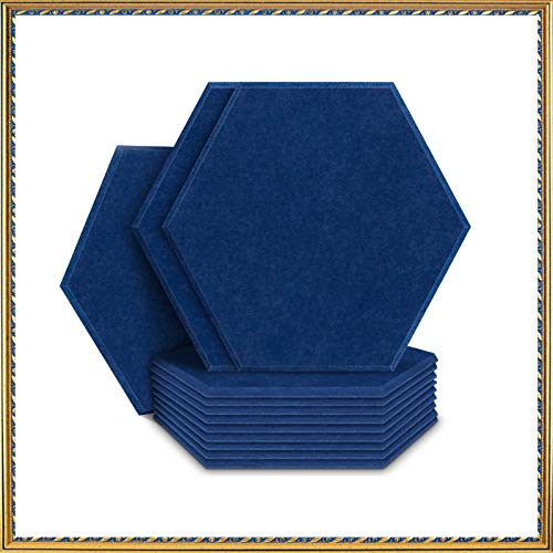 Acoustic Panels Sound Dampening Panels Hexagon, 12 Pack Sound Proof Padding Soundproofing Absorption Panel, 14' x 13' x 0.4' High Density Beveled Edge Wall Tiles for Acoustic Treatment (Blue)
