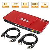 TESmart 2 Ports HDMI KVM Switch 4K@60Hz 4:4:4 Ultra HD   2x1 KVM Switcher 2 in 1 Out mit 2 Stck. 1,5 m KVM-Kabel Unterstützt USB 2.0-Geräte Steuerung von bis zu 2 Computern/Servern/DVR-Korallenrot