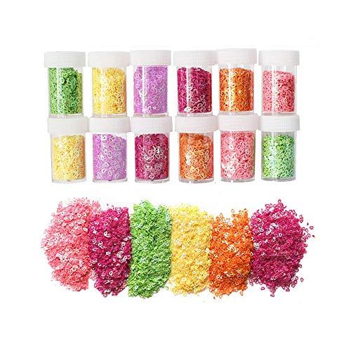 Simuer 12 Pack Manicure Paillettes Sequins del Diamante Fai da te Arte Chiodo Luccichio Gioielli Decorazione Glitter Confetti Sequins for Slime,Cuore Forma