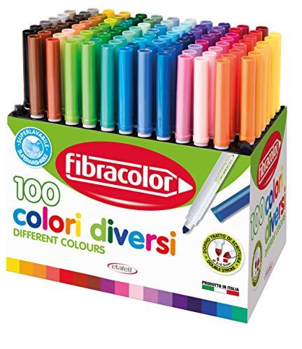 Pennarelli 100 COLORI Fibracolor - confezione 100 pennarelli punta conica in 100 colori diversi, superlavabili
